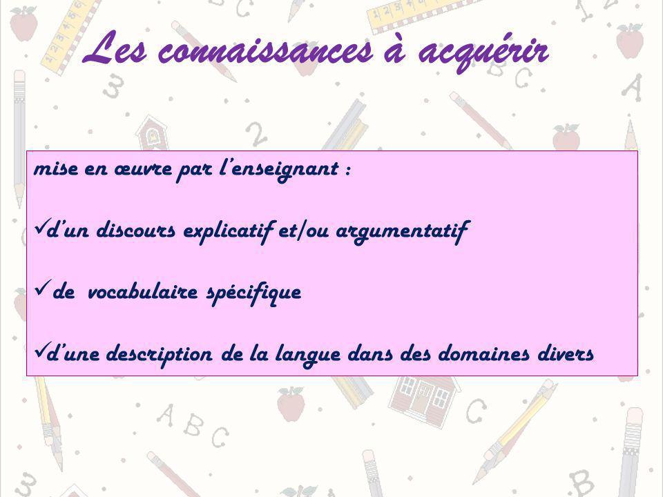 Les connaissances à acquérir mise en œuvre par lenseignant : dun discours explicatif et/ou argumentatif de vocabulaire spécifique dune description de la langue dans des domaines divers