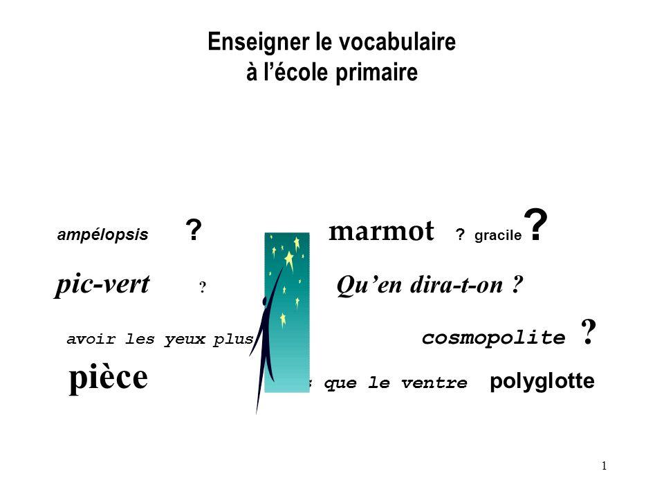 1 Enseigner le vocabulaire à lécole primaire ampélopsis ? marmot ? gracile ? pic-vert ? Quen dira-t-on ? avoir les yeux plus cosmopolite ? pièce gros