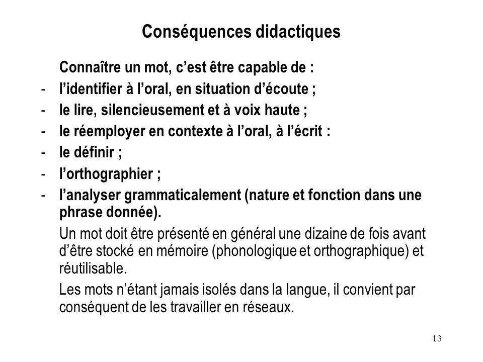 13 Conséquences didactiques Connaître un mot, cest être capable de : - lidentifier à loral, en situation découte ; - le lire, silencieusement et à voi