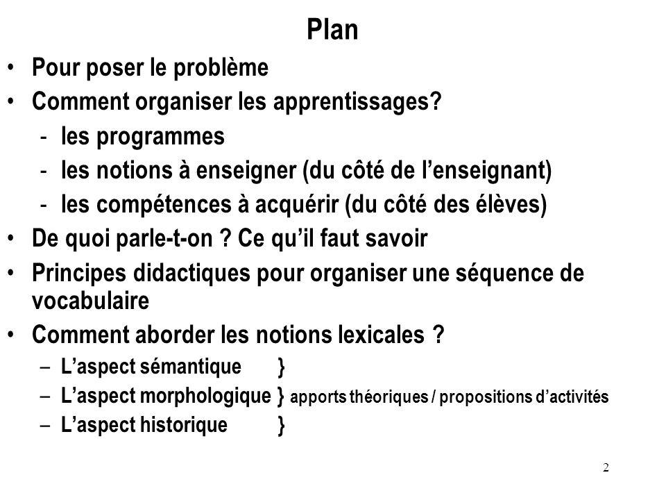 2 Plan Pour poser le problème Comment organiser les apprentissages? - les programmes - les notions à enseigner (du côté de lenseignant) - les compéten