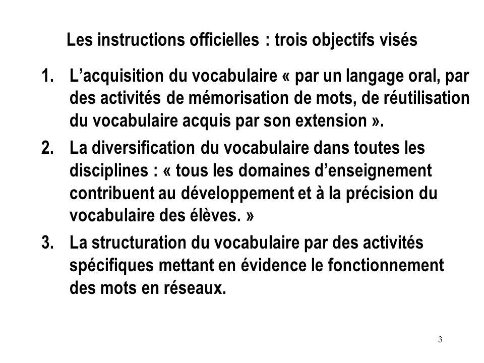 3 Les instructions officielles : trois objectifs visés 1.Lacquisition du vocabulaire « par un langage oral, par des activités de mémorisation de mots,