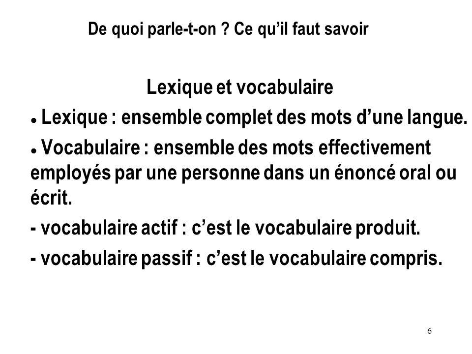 6 De quoi parle-t-on ? Ce quil faut savoir Lexique et vocabulaire Lexique : ensemble complet des mots dune langue. Vocabulaire : ensemble des mots eff