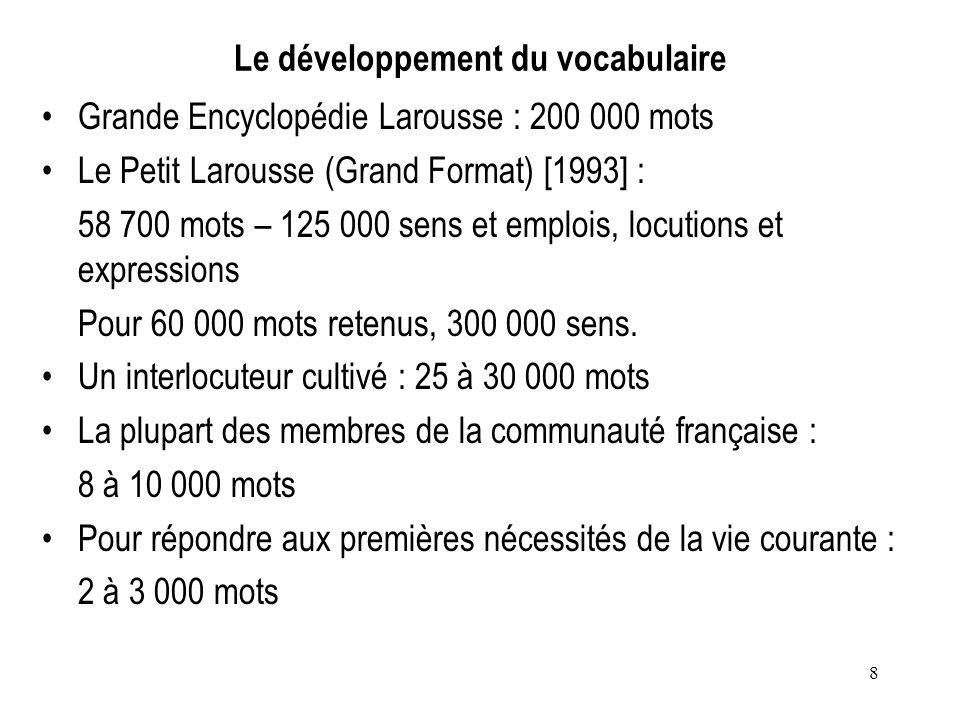8 Le développement du vocabulaire Grande Encyclopédie Larousse : 200 000 mots Le Petit Larousse (Grand Format) [1993] : 58 700 mots – 125 000 sens et