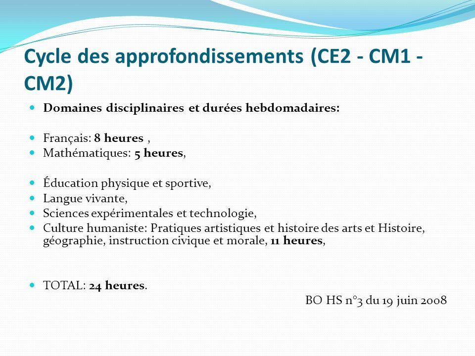 Cycle des approfondissements (CE2 - CM1 - CM2) Domaines disciplinaires et durées hebdomadaires: Français: 8 heures, Mathématiques: 5 heures, Éducation
