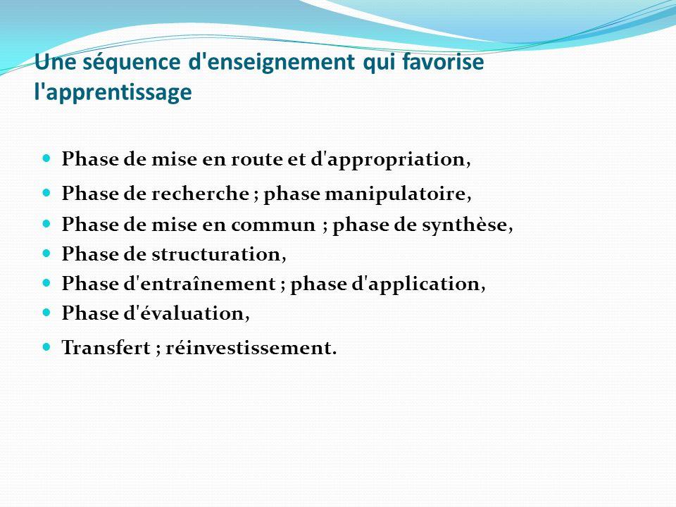 Une séquence d'enseignement qui favorise l'apprentissage Phase de mise en route et d'appropriation, Phase de recherche ; phase manipulatoire, Phase de