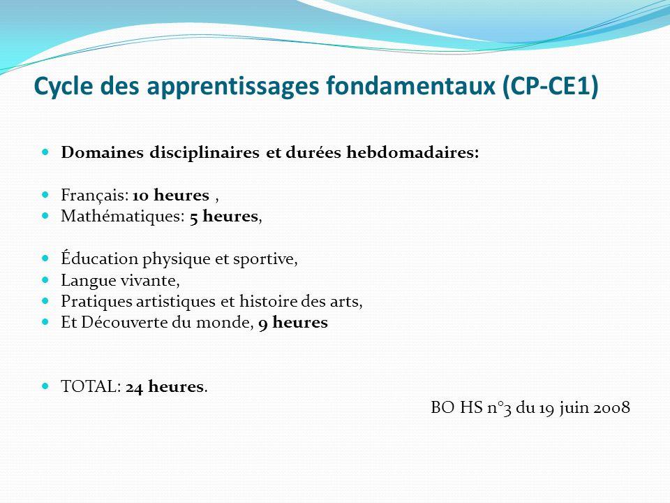 Cycle des apprentissages fondamentaux (CP-CE1) Domaines disciplinaires et durées hebdomadaires: Français: 10 heures, Mathématiques: 5 heures, Éducatio