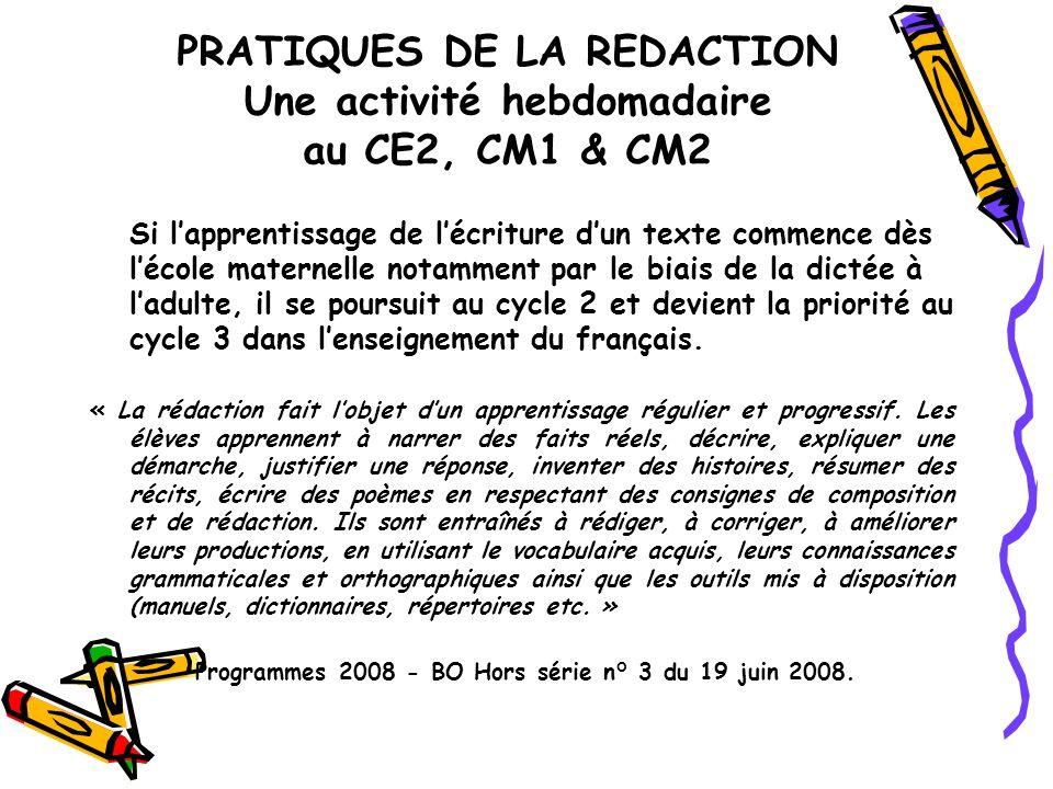 PRATIQUES DE LA REDACTION Une activité hebdomadaire au CE2, CM1 & CM2 Si lapprentissage de lécriture dun texte commence dès lécole maternelle notammen