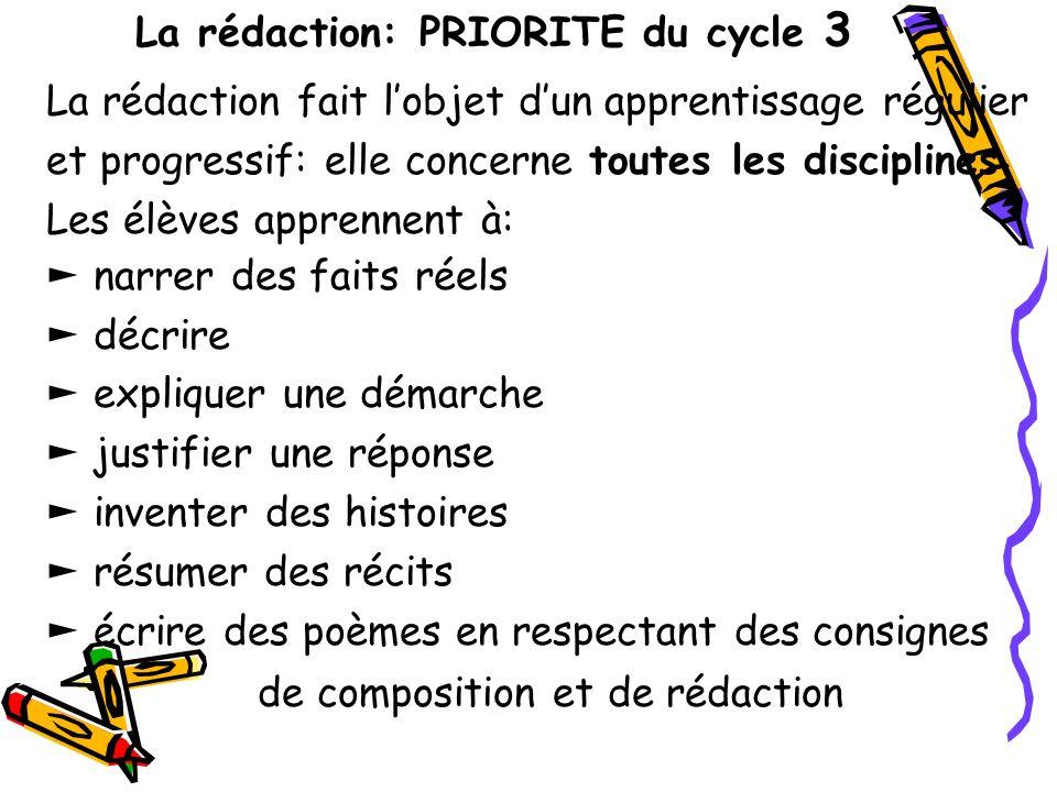 La rédaction: PRIORITE du cycle 3 La rédaction fait lobjet dun apprentissage régulier et progressif: elle concerne toutes les disciplines. Les élèves