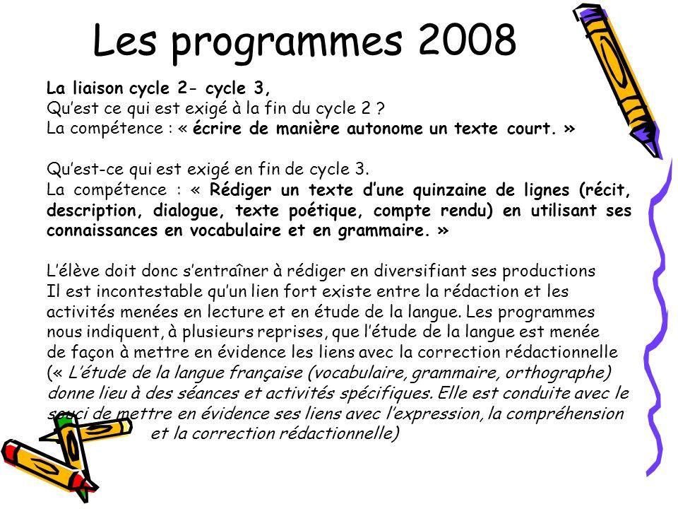 Les programmes 2008 La liaison cycle 2- cycle 3, Quest ce qui est exigé à la fin du cycle 2 ? La compétence : « écrire de manière autonome un texte co
