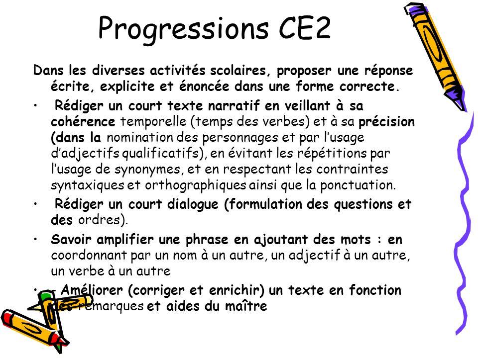 Progressions CE2 Dans les diverses activités scolaires, proposer une réponse écrite, explicite et énoncée dans une forme correcte. Rédiger un court te