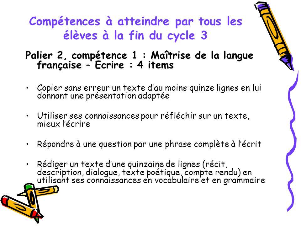 Compétences à atteindre par tous les élèves à la fin du cycle 3 Palier 2, compétence 1 : Maîtrise de la langue française – Ecrire : 4 items Copier san
