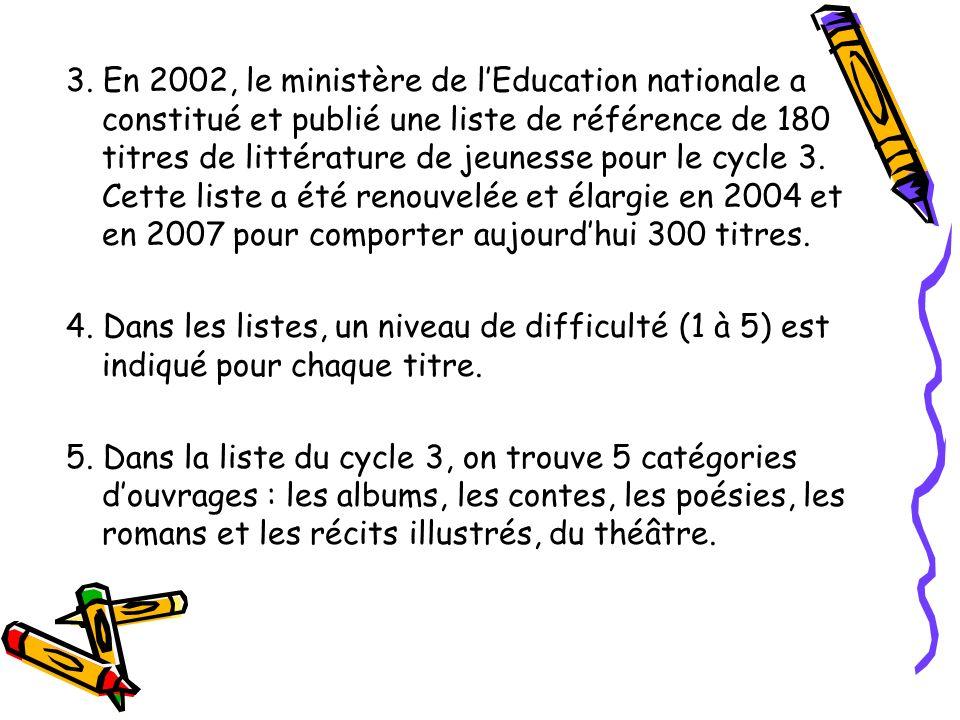 3. En 2002, le ministère de lEducation nationale a constitué et publié une liste de référence de 180 titres de littérature de jeunesse pour le cycle 3
