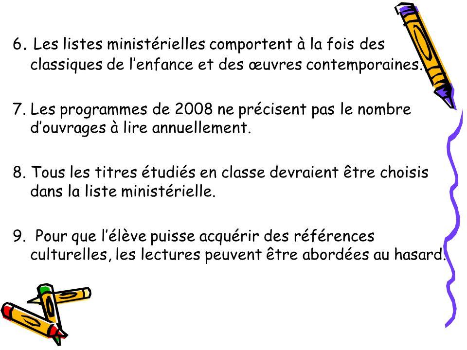 6. Les listes ministérielles comportent à la fois des classiques de lenfance et des œuvres contemporaines. 7. Les programmes de 2008 ne précisent pas