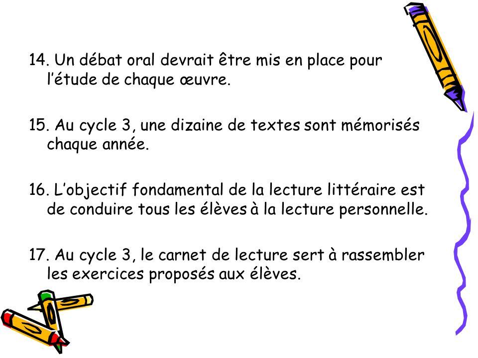 14. Un débat oral devrait être mis en place pour létude de chaque œuvre. 15. Au cycle 3, une dizaine de textes sont mémorisés chaque année. 16. Lobjec
