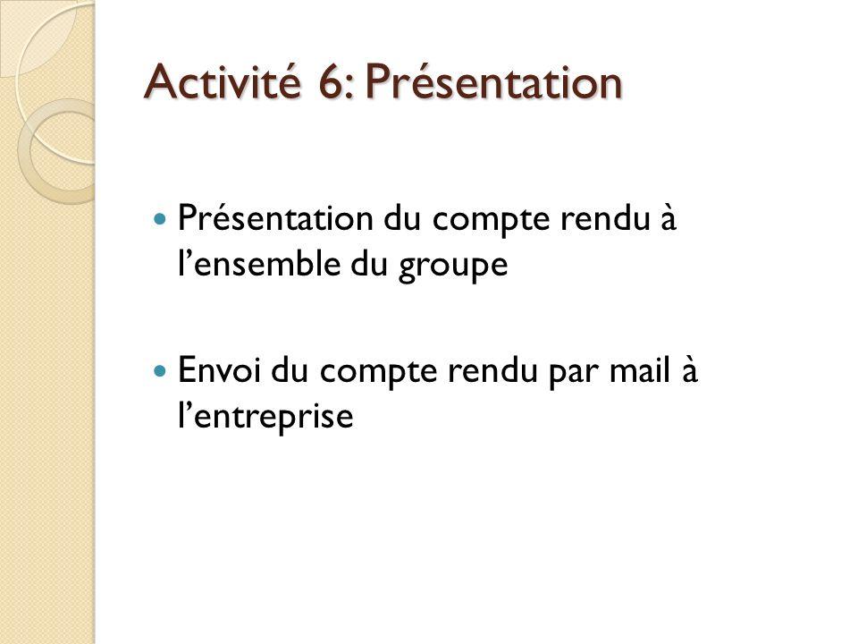 Activité 6: Présentation Présentation du compte rendu à lensemble du groupe Envoi du compte rendu par mail à lentreprise
