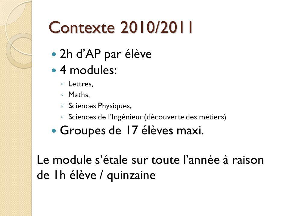 Contexte 2010/2011 2h dAP par élève 4 modules: Lettres, Maths, Sciences Physiques, Sciences de lIngénieur (découverte des métiers ) Groupes de 17 élèves maxi.