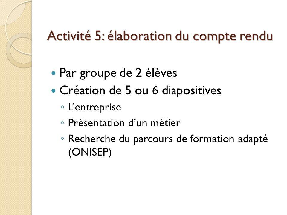 Activité 5: élaboration du compte rendu Par groupe de 2 élèves Création de 5 ou 6 diapositives Lentreprise Présentation dun métier Recherche du parcours de formation adapté (ONISEP)