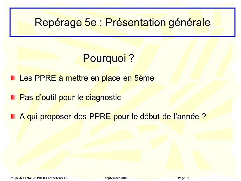Groupe des CMAI « PPRE & Compétences »septembre 2008 Page : 1 Les PPRE à mettre en place en 5ème Pas doutil pour le diagnostic A qui proposer des PPRE