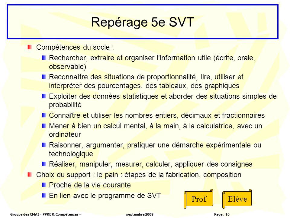 Groupe des CMAI « PPRE & Compétences »septembre 2008 Page : 10 Repérage 5e SVT Compétences du socle : Rechercher, extraire et organiser linformation u