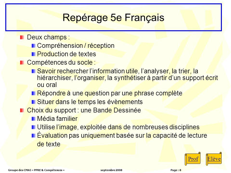 Groupe des CMAI « PPRE & Compétences »septembre 2008 Page : 8 Repérage 5e Français Deux champs : Compréhension / réception Production de textes Compét