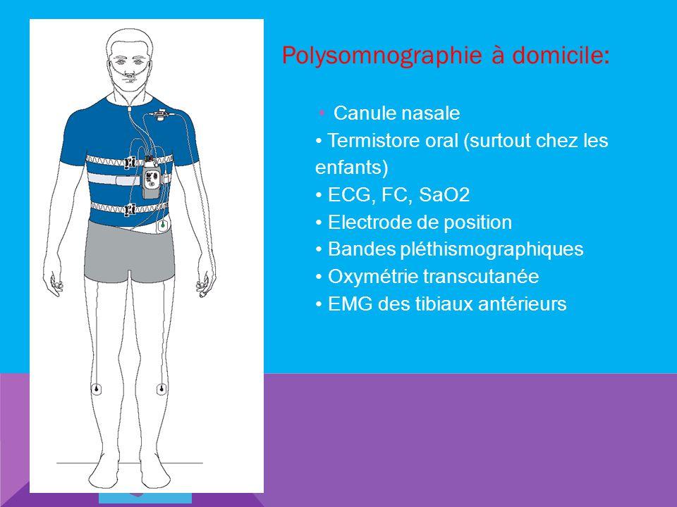 Polysomnographie à domicile: Canule nasale Termistore oral (surtout chez les enfants) ECG, FC, SaO2 Electrode de position Bandes pléthismographiques O
