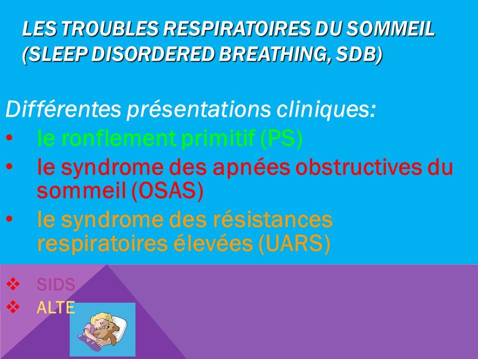 LES TROUBLES RESPIRATOIRES DU SOMMEIL (SLEEP DISORDERED BREATHING, SDB) Différentes présentations cliniques: le ronflement primitif (PS) le syndrome d