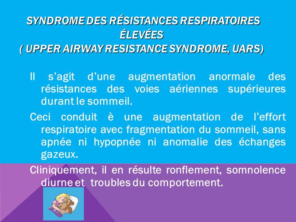 SYNDROME DES RÉSISTANCES RESPIRATOIRES ÉLEVÉES ( UPPER AIRWAY RESISTANCE SYNDROME, UARS) SYNDROME DES RÉSISTANCES RESPIRATOIRES ÉLEVÉES ( UPPER AIRWAY