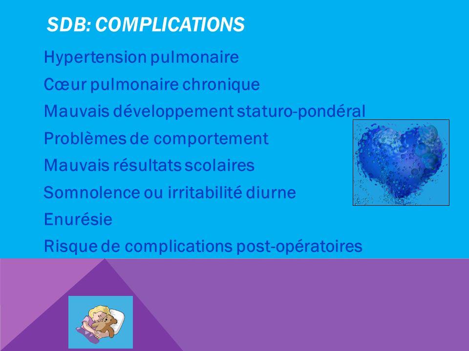 SDB: COMPLICATIONS Hypertension pulmonaire Cœur pulmonaire chronique Mauvais développement staturo-pondéral Problèmes de comportement Mauvais résultat