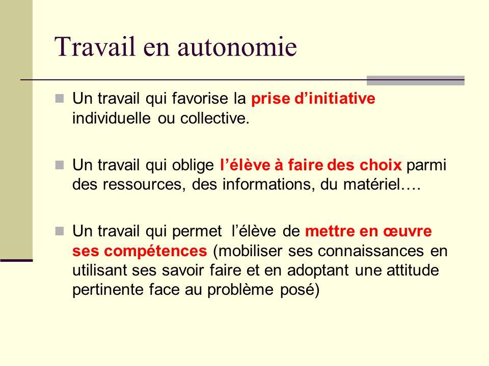 Travail en autonomie Un travail qui favorise la prise dinitiative individuelle ou collective. Un travail qui oblige lélève à faire des choix parmi des