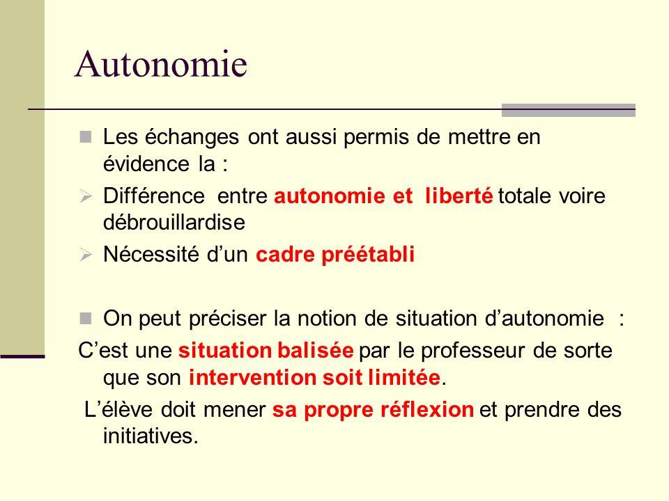 Autonomie Les échanges ont aussi permis de mettre en évidence la : Différence entre autonomie et liberté totale voire débrouillardise Nécessité dun ca