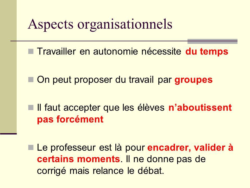 Aspects organisationnels Travailler en autonomie nécessite du temps On peut proposer du travail par groupes Il faut accepter que les élèves naboutisse