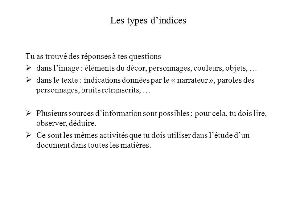 Les types dindices Tu as trouvé des réponses à tes questions dans limage : éléments du décor, personnages, couleurs, objets, … dans le texte : indicat