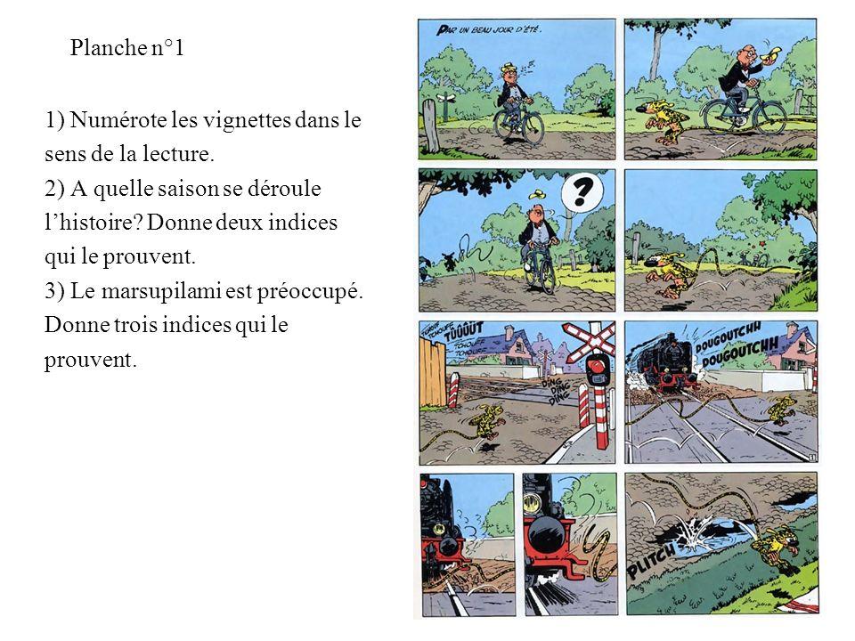 Planche n°1 1) Numérote les vignettes dans le sens de la lecture. 2) A quelle saison se déroule lhistoire? Donne deux indices qui le prouvent. 3) Le m