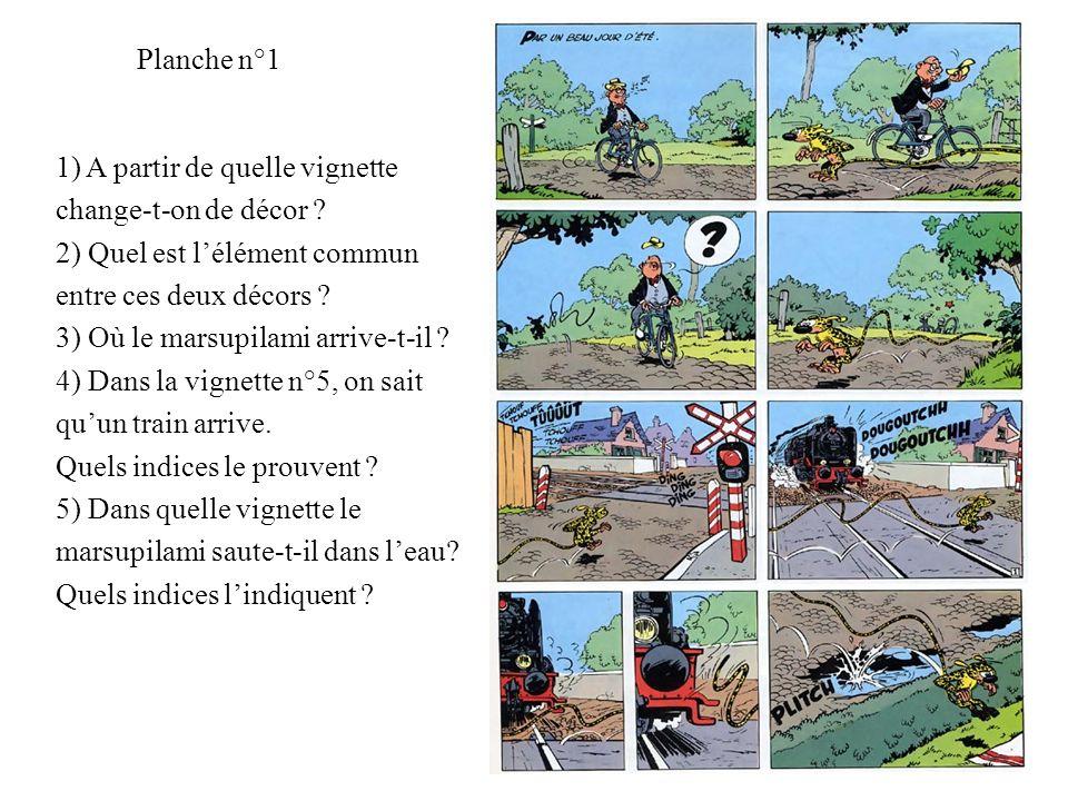 Planche n°1 1) A partir de quelle vignette change-t-on de décor ? 2) Quel est lélément commun entre ces deux décors ? 3) Où le marsupilami arrive-t-il