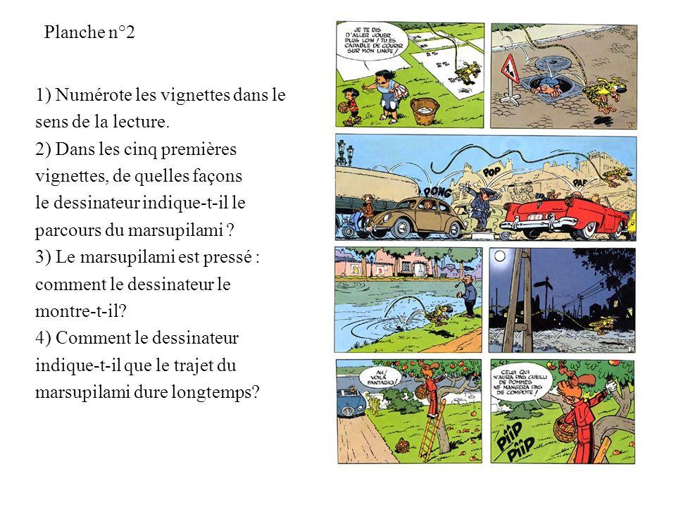 Planche n°2 1) Numérote les vignettes dans le sens de la lecture. 2) Dans les cinq premières vignettes, de quelles façons le dessinateur indique-t-il