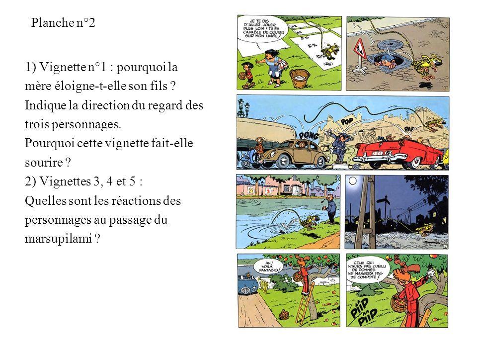 Planche n°2 1) Vignette n°1 : pourquoi la mère éloigne-t-elle son fils ? Indique la direction du regard des trois personnages. Pourquoi cette vignette
