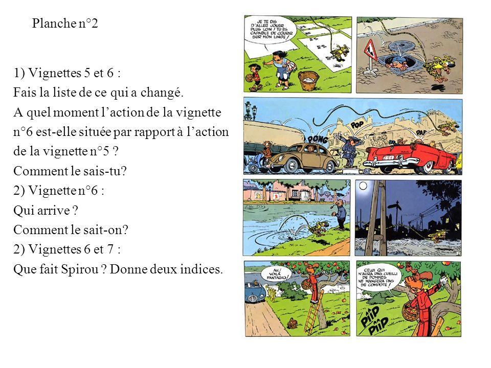 Planche n°2 1) Vignettes 5 et 6 : Fais la liste de ce qui a changé. A quel moment laction de la vignette n°6 est-elle située par rapport à laction de