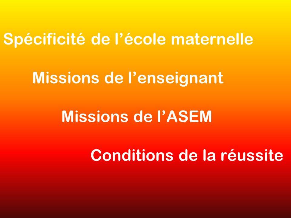 Spécificité de lécole maternelle Missions de lenseignant Missions de lASEM Conditions de la réussite