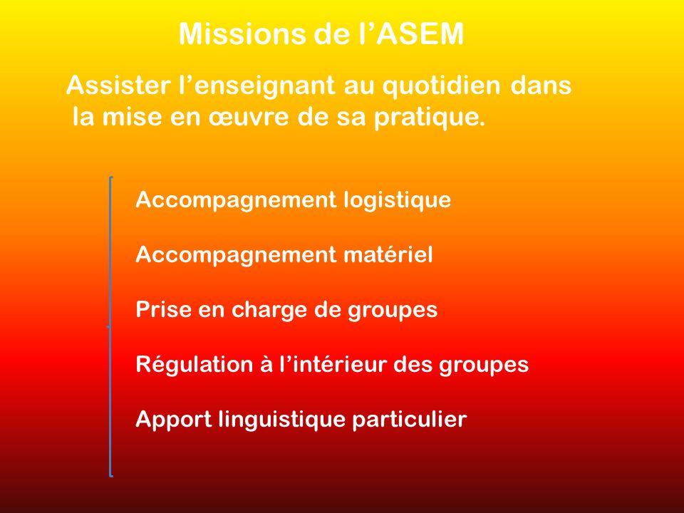 Missions de lASEM Assister lenseignant au quotidien dans la mise en œuvre de sa pratique. Accompagnement logistique Accompagnement matériel Prise en c