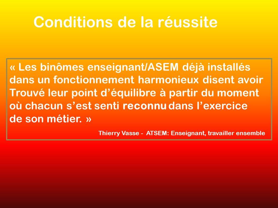 Conditions de la réussite « Les binômes enseignant/ASEM déjà installés dans un fonctionnement harmonieux disent avoir Trouvé leur point déquilibre à partir du moment où chacun sest senti reconnu dans lexercice de son métier.