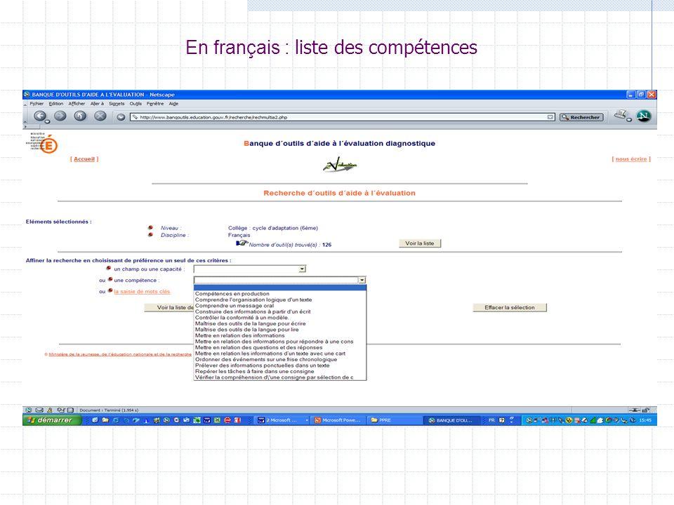 En français : liste des compétences