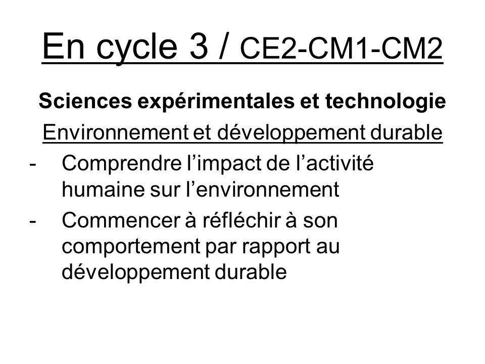 En cycle 3 / CE2-CM1-CM2 Sciences expérimentales et technologie Environnement et développement durable -Comprendre limpact de lactivité humaine sur le