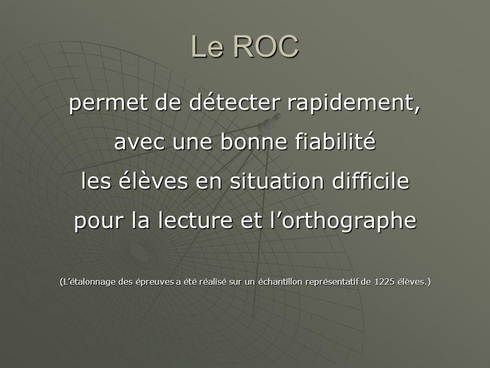 Le ROC permet de détecter rapidement, avec une bonne fiabilité les élèves en situation difficile pour la lecture et lorthographe (Létalonnage des épre