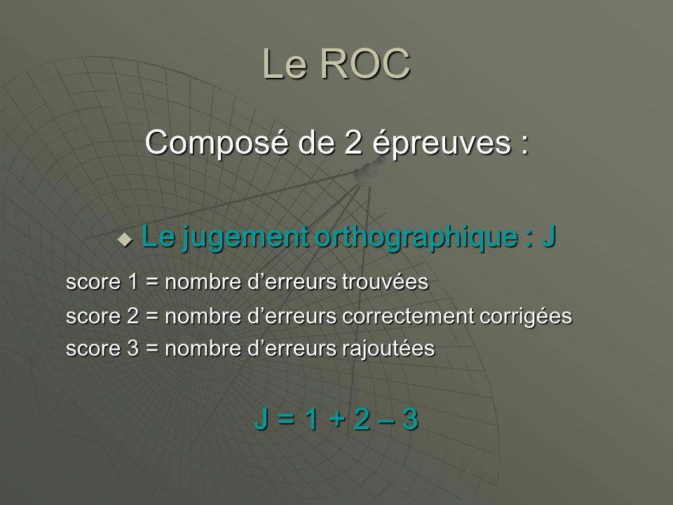 Le ROC Composé de 2 épreuves : Le jugement orthographique : J Le jugement orthographique : J score 1 = nombre derreurs trouvées score 2 = nombre derre