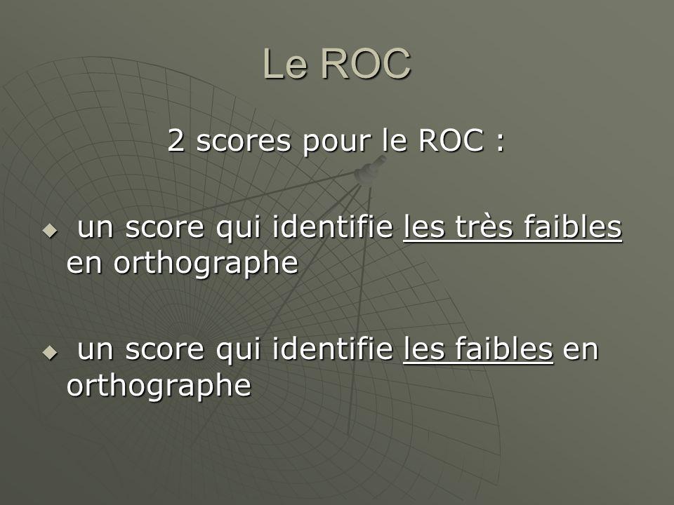 Le ROC 2 scores pour le ROC : un score qui identifie les très faibles en orthographe un score qui identifie les très faibles en orthographe un score q