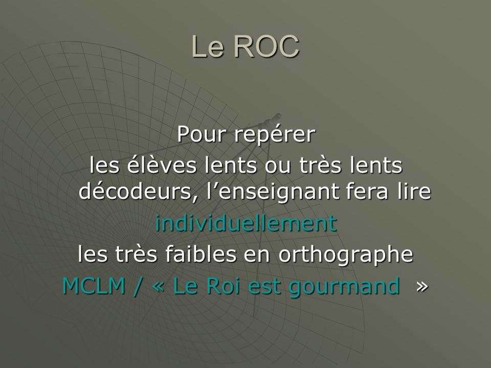 Le ROC Pour repérer les élèves lents ou très lents décodeurs, lenseignant fera lire individuellement les très faibles en orthographe MCLM / « Le Roi e