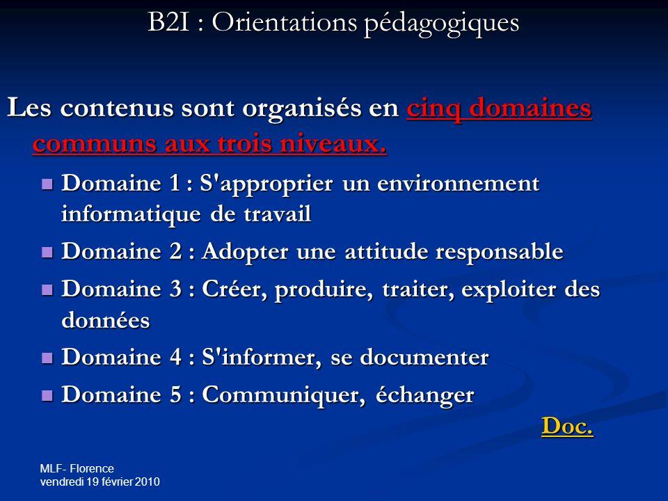 MLF- Florence vendredi 19 février 2010 B2I : Orientations pédagogiques Les contenus sont organisés en cinq domaines communs aux trois niveaux.