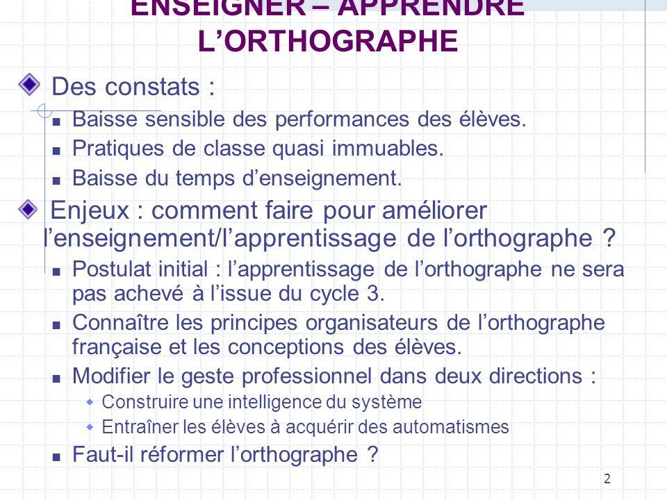 2 ENSEIGNER – APPRENDRE LORTHOGRAPHE Des constats : Baisse sensible des performances des élèves.
