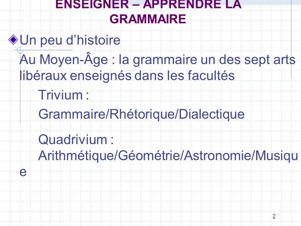 2 ENSEIGNER – APPRENDRE LA GRAMMAIRE Un peu dhistoire Au Moyen-Âge : la grammaire un des sept arts libéraux enseignés dans les facultés Trivium : Gram