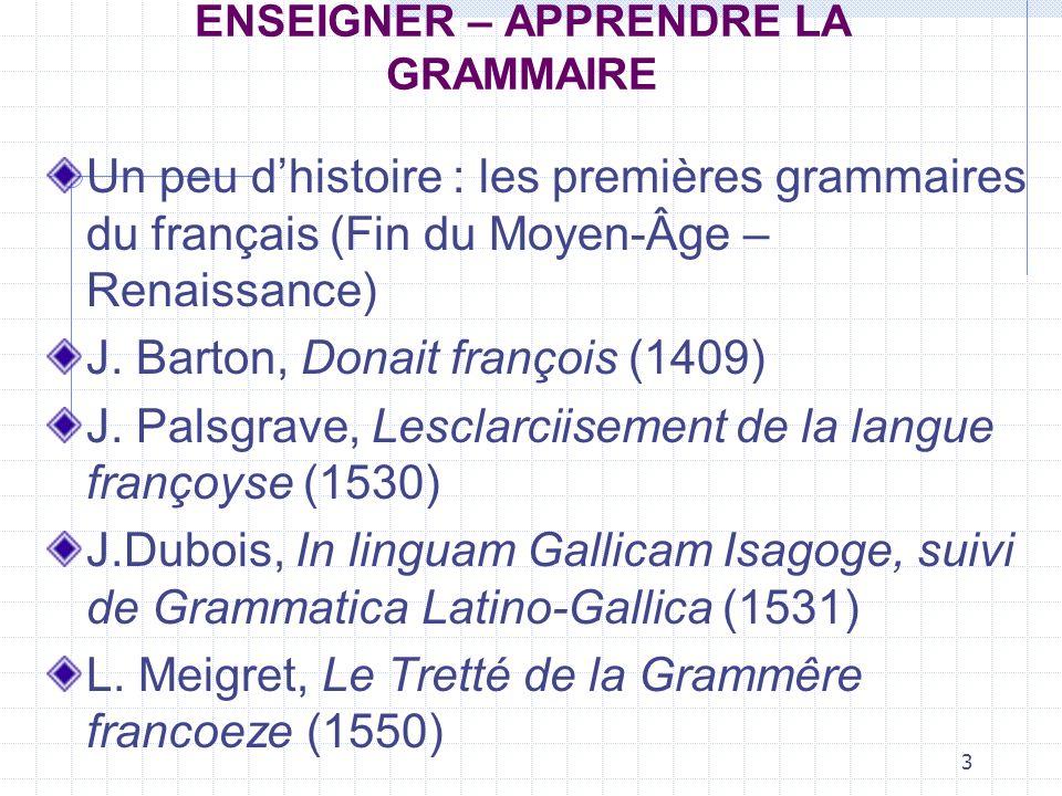 14 ENSEIGNER – APPRENDRE LA GRAMMAIRE Relèvent de la grammaire des éléments de : - phonologie ; - morphologie ; - vocabulaire ; - de syntaxe ; - de conjugaison.